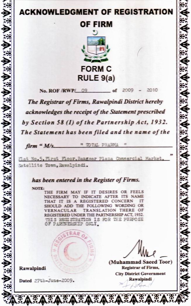REGISTRATION OF FIRM